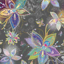 ENCHANTED FLORAL LARGE FLORAL CHARCOAL