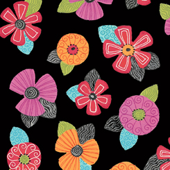 Jamboree Black Tossed Floral