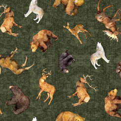 Quilting Treasures TIMBERLAND TRAIL 26806-F TOSSED ANIMALS FOREST Green