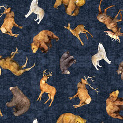 Quilting Treasures TIMBERLAND TRAIL 26806-N  TOSSED ANIMALS MIDNIGHT BLUE
