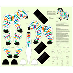 SEW & GO VI RAINBOW ZEBRA STUFFABLE CRAFT PANEL MULTI