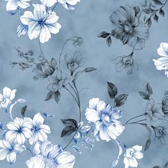Juliette - Spaced Floral Vine - Dark Chambray