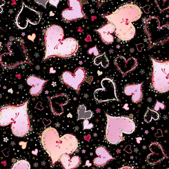 Quilting Treasures WITH LOVE 26889-J LARGE HEARTS BLACK