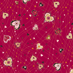 Quilting Treasures WITH LOVE 26890-R MEDIUM HEARTS RED