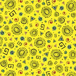 Geometrics Fat Quarter - Yellow Wild Side Collection by QT Fabrics
