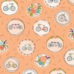 Scenic Route BIKE & FLORAL MEDALLIONS APRICOT