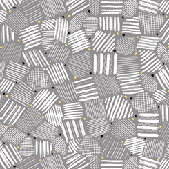 White Geometric Line Patches on Gray:  Nadine by Quilting Treasures