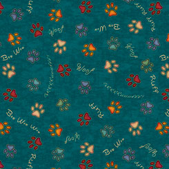 BB - MUST LOVE DOGS PAW PRINTS TEAL