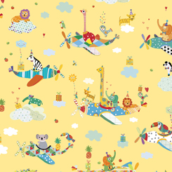 Safari In The Sky SAFARI ANIMALS IN PLANES YELLOW