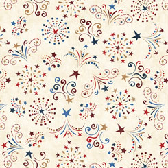 Fireworks Fat Quarter - Cream American Pride Collection by QT Fabrics