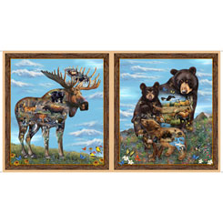 Quilting Treasures Artworks XX26986-X  MOOSE & BEAR PANEL MULTI