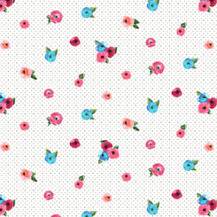 Sweet Caroline SMALL FLORAL WITH DOTS WHITE