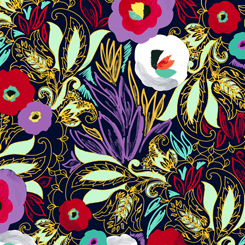Linear Floral Fat Quarter - Navy Adeline Collection by QT Fabrics