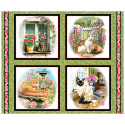 Fancy Felines CATS PICTURE PATCHES GREEN