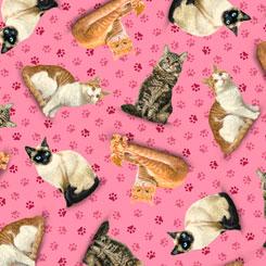Fancy Felines Tossed Cats Dk Pink
