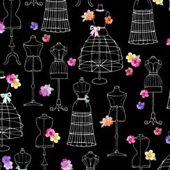 Amour De Fleur MANNEQUINS BLACK 27054-J