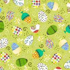 Happy Easter TOSSED EASTER EGGS SPRIN GREEN