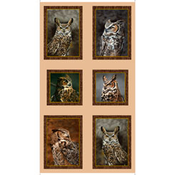 Nocturnal Wonders GREAT HORNED OWLS PICTURE PATCHES TAN Panel