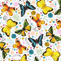 Fly Free TOSSED BUTTERFLIES WHITE