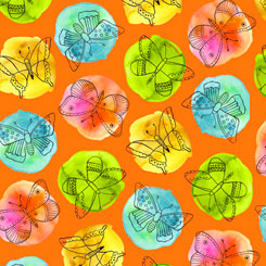 Fly Free SKETCHED BUTTERFLIES ON DOTS ORANGE