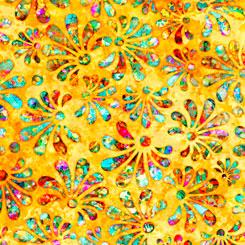 QT Fabrics Radiance STYLIZED FLORAL YELLOW