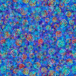 QT Fabrics- Rhythm BULLSEYE BLUE 27104-B