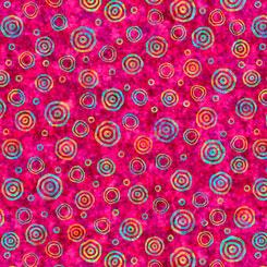 QT Fabrics- Rhythm BULLSEYE AZALEA 27104-P