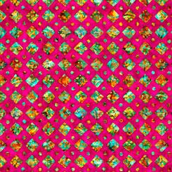 QT Fabrics - Rhythm DIAMONDS AZALEA 27105-P