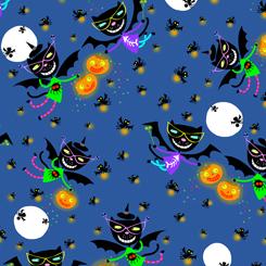 creepy halloweenies cat bat toss denim