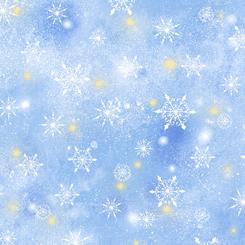 QT Fabrics Woodland Cuties SNOWFLAKES BLUE