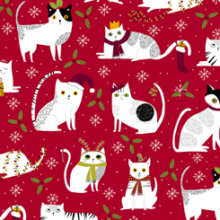 Meowy Christmas CHRISTMAS CATS RED