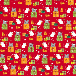 Meowy Christmas Mice & Gifts Red