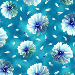 Kenzie Tossed Blooms - Dk Turquoise - 27123-Q