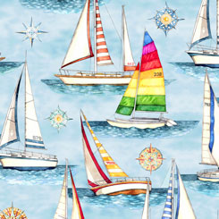 Smooth Sailing SAILBOATS LIGHT BLUE