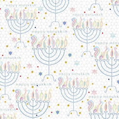 Happy Hanukkah MENORAHS WHITE