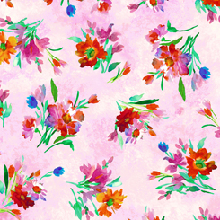Full Bloom Spaced Floral Pink