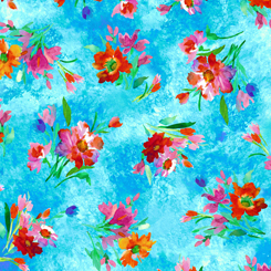 Full Bloom SPACED FLORAL TURQUOISE