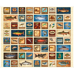 Fresh Catch FISHING PATCHES CREAM 1 yard panel