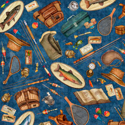 Quilting Treasures Fresh Catch FISHING EQUIPMENT NAVY