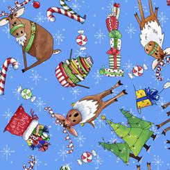 Reindeer Antics REINDEER & CHRISTMAS TOSS BLUE