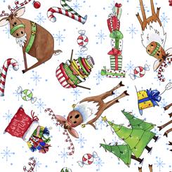 REINDEER antics reindeer & christmas toss white