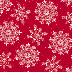 Pretty Poinsettias - Snowflake Toss Red