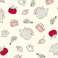 Sew What? 27238-E Pin Cushion Toss Cream QT Fabrics