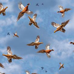 Quilting Treasures Pheasant Fields 27245-W PHEASANTS IN FLIGHT DENIM