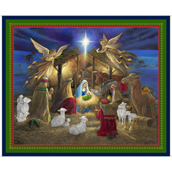 Holy Night Nativity Panel 27251-N Navy/Multi