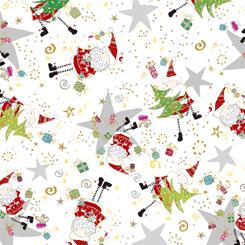 Happy Christmas SANTA & STAR TOSS WHITE