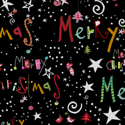 Happy Christmas 27258-J MERRY CHRISTMAS BLACK by Turnowski for QT Fabrics