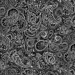 Paisley Fat Quarter - Black Blanc Et Noir Collection by QT Fabrics