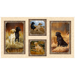 Quilting Treasures Loyal, Loveable Labs 24 Panel LABRADOR PICTURE PATCHES CREAM