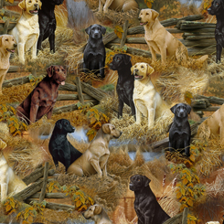 Quilting Treasures Loyal, Loveable Labs LABRADOR SCENIC MULTI